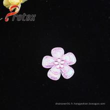 Appliqués en élastiques en fleurs roses avec acrylique pour la décoration de vêtement