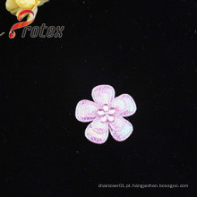 Pink Flower Applique Patches com Acrílico para Decoração Vestuário