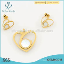 Chaud nouveau design en forme de cœur ensemble de bijoux, la meilleure boucle d'oreille et le locket sets bijoux en gros