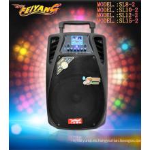12 pulgadas de batería profesional recargada subwoofer altavoz construido en micrófono inalámbrico Bluetooth SL-12-02
