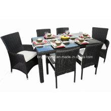 Плетеная стул сада и таблица напольной мебели обедая комплект