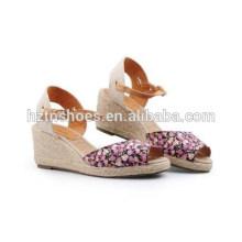 Korea Edition Europe comfortable leisure wedges sandals hemp shoes
