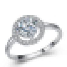 Sterling Silber 925 Prinzessin Cut CZ Zirkonia Halo Verlobungsring