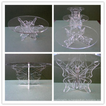 Бабочка акриловые свадебные торты дисплей подставка / акриловая выставка стенд