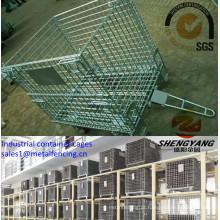 Exposição de supermercado por atacado de fábrica eletrônico galvanizado cestas de armazenamento de malha de arame 4 camadas gaiolas de recipiente industrial empilhável