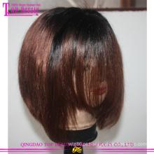 Bob curto bicolor venda quente cabelo virgem brasileiro #1b/33 rendas peruca dianteira