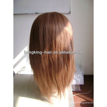 perruque de dentelle de cheveux humains marron clair