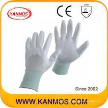 Buen PU Dipped Nylon Blanca Seguridad Industrial Mano Guantes de trabajo (54003)