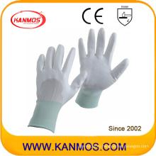 Хорошие полиуретановые защитные перчатки ручной работы из белого нейлона (54003)