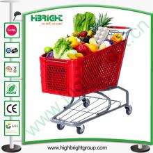 Carro de carrito de compras de plástico para la tienda de cadena minorista