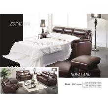 Sofá-cama de couro da Itália (652)