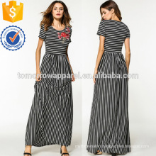 Flower Appliques Stripe Dress Manufacture Wholesale Fashion Women Apparel (TA3222D)
