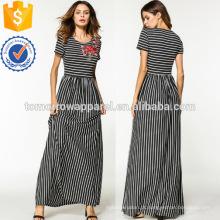 Flor Appliques Stripe Dress Fabricação Atacado Moda Feminina Vestuário (TA3222D)