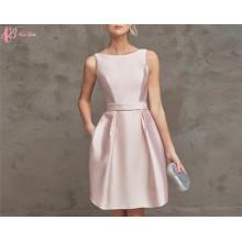 2017 Últimas de hombro rosa y azul real faldas rodilla longitud Robe De Soiree vestido de noche corto