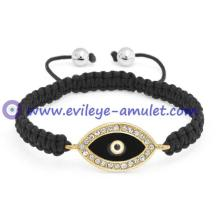 Black Evil Eye Crystal Shamballa Inspired Bracelet