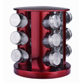 Tarros de almacenamiento de especias de botellas de vidrio de condimento rojo de 12 piezas