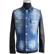 Men's Denim Jacket, Made of 70% Jeans and 30% PU Goat