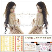 Бесплатный образец водонепроницаемый наклейка татуировки металлических изменение цвета в ВС для взрослых BS-8022