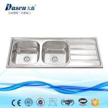 Double cuvette de blanchisserie d'acier inoxydable avec le bassin de cuisine de lavage de Drainboard POUR l'évier d'OEM de TEKA en Thaïlande