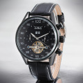 Wrist Mechanical Watches Automatic Leather Strap