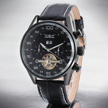 Mens Leather Band Tourbillon Montres-bracelets occasionnels