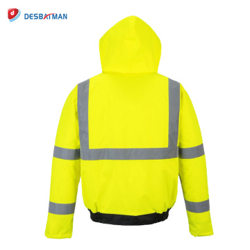 Mens Contrast Hooded Hi-Vis Windproof Rain Coat Work Waterproof Jacket with Reflective Tapes and Pockets Safety