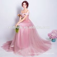 Pink Chiffon Evening Dress Design Open Back Prom Dress Sleeveless Sweet Graduation Dresses 2017