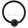 Black PVD Coated Steel Fixed Bead Ring