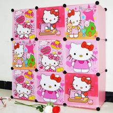 9 puertas de plástico lindo armarios gabinetes de bricolaje para las niñas (zh0016)