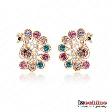 Multicolor CZ Crystal Peacock Stud Earrings para mulheres (ER0019-C)