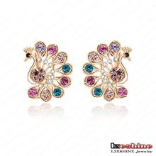 Multicolor CZ Crystal Peacock Stud Earrings pour femme (ER0019-C)