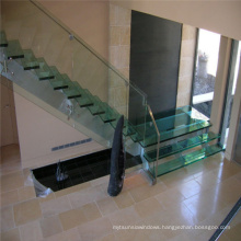Hot Sale Indoor Wrought Iron Stair Stainless Steel Glass Straight Staircase