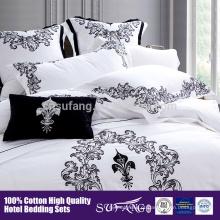 cinco início Hotel linho Bordado Flower Pattern Bedding Set