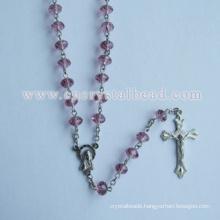 Pink Roundelle Catholic Crystal Rosary Bead