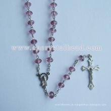 Conta de Rosário de cristal rosa Roundelle Católica