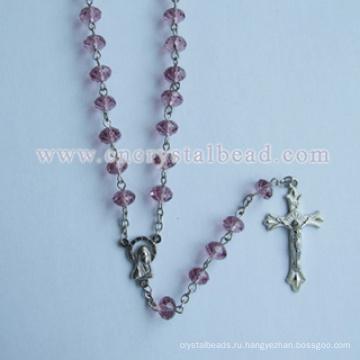 Розовый Roundelle католической кристалл розарий