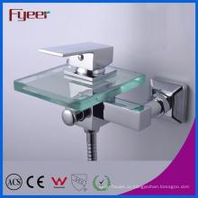 Fyeer одной ручкой Ванная комната водопад стекла Смеситель для ванны с Diverer