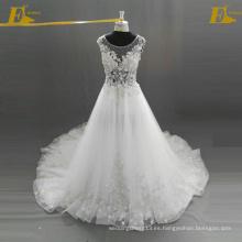 ED Bridal Últimos diseños Cap manga Appliques y rebordeado ver a través de la blusa Lace-Up Volver vestido de organza vestido de novia