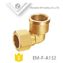 EM-F-A132 Encaixe de tubulação de cotovelo de conector fêmea de rosca fêmea de bronze