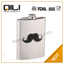 18/8 FDA high quality brushed 7oz stainless steel hip flask for man