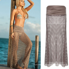 Women Sarong Mesh Hollow Crochet Swimwear Cover up Beach Dress