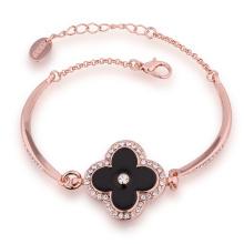 Moda 18k oro rosa oreja taladro flor forma colgante encanto pulsera de diseño para Yong Girl