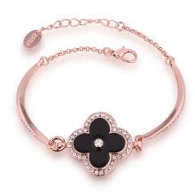 Fashion 18k Rose Gold Czech Drill Flower Shape Pendant Charm Bracelet Design for Yong Girl