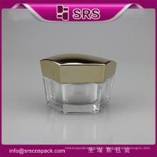 SRS échantillon gratuit promotionnel hexagon forme acrylique 50g conteneurs pour crèmes