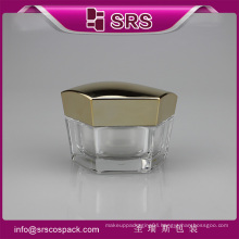 SRS free sample promotional hexagon shape acrylic 50g containers for creams