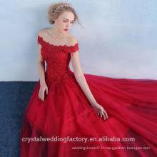 Alibaba Elegant Long New Designer Red Color Beach Tulle et dentelle Robes de soirée ou Robe de demoiselle d'honneur lourd LE38