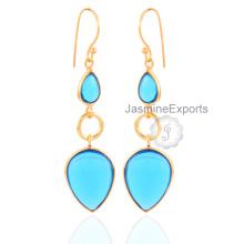 Boucles d'oreilles en or 18 carats Belle pendentifs en gemme à quartz bleu pour femmes