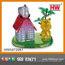 Heißer Verkauf Plastik Kristallhaus 3D Puzzlespiel-Spiel-Spielzeug