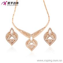 63406 Fashion luxe en forme de coeur CZ Diamond 18k plaqué or bijoux ensemble pour la noce
