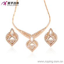 63406 Fashion Luxury Heart-Shaped CZ Diamond 18k Gold-Plated Imitation Jewelry Set for Wedding Party